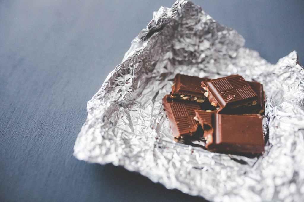 chocolate pieces on aluminum foil